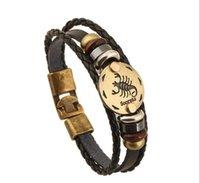 alloy posts - Retro Leather Bracelets Leather Bracelet Zodiac Men s Alloy Woven Bracelet Free Post