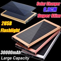 Wholesale 9mm Ultra thin Aluminium Solar Charger mAh mAh Power Bank USB LED Emergency External Battery Backup For Samsung S7 S6 i7 S Plus