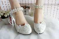 ballet shoe ribbon - New Arrival Pearls Lace Flowers Wedding Shoes Flats CM CM Or CM Bridal Heels With Pearl Ribbon Strap Pointed Toe Heel