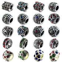 Wholesale Fits Pandora Bracelets Beads Stamp Silver Plated Crystal Charms Big Hole Loose Beads For Diy European Bracelets