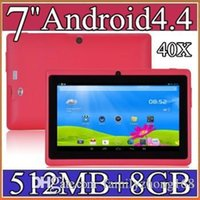 Wholesale 7 inch Android4 Google mAh Battery Tablet PC WiFi Quad Core GHz MB GB Q88 Allwinner A33 quot Dual Camera A PB