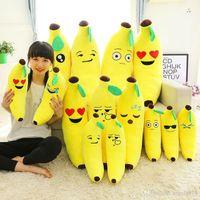 achat en gros de peluche banane-EMS haute qualité 40cm Banana Coussin Emoji Smiley Oreiller Cartoon Coussin Jaune Emoji Oreiller Banane Doll Stuffed Plush Pillow Toy E972
