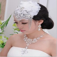 Wholesale Fashion Lace Flower crystal Bridal Hats Handmade women hat prom wedding party Headwear Bridal Accessories L486