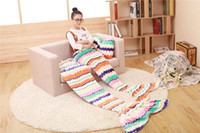 Wholesale 17 Designs Sizes Mermaid Tail Fleece Sofa TV Blanket with Pillow Adult Children kids Bed Wrap Soft Sleeping Bag High quality
