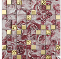 Wholesale Rose Red Mosaic Chinese modern puzzle living room TV background wall bathroom bedroom bar decoration