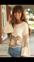 Wholesale Women s crochet lace fringe boho Bohemian blouse top Frayed blouse Stretch knit tunic with lacy