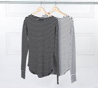 extra long t shirt - 2016 Hot Streetwear Hip Hop Kpop Hipster Urban Striped Curved Hem Tee Mens Clothing Extra Long Sleeve Longline T shirts M XL