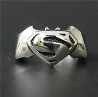Wholesale Size Fashion Jewelry Cool Hot New Band Superman Bat Man Ring L Stainless steel Polishing Biker ring