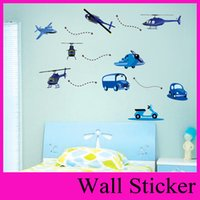 Wholesale Aircraft car plane cartoon car air planestickers wall stickers green DIY CM for Kids Room Decoration