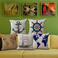 Wholesale Mediterranean series sailboats anchor nautical sailor map printed cotton pillow cover cushion pillow case hot sale new arrvial