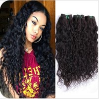 Wholesale 7A Grade Brazilian Wet and Wavy Human Hair Wefts Extensions Water Wave Unprocessed Brazilian Hair Bundles Deals Double Wefts