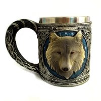 beer christmas gifts - 3D Horror Wolf Head Drinking Mug Resin Stainless Steel Liner Beer Cup Home Office Coffee Cup Crazy Christmas Gift