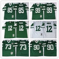 Wholesale Stitched Throwback Joe Namath Joe Klecko Dennis Byrd Wesley Walker Mark Gastineau White Green Home Away NY Football Jerseys