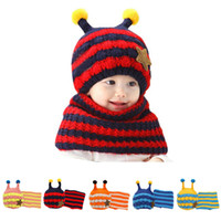 Wholesale 1 Set Baby Boy Girl Warm Winter Hat Hooded Scarf New Fashion Earflap Knit Wool Kid Beanie Neck Cap Toddler Hats Scarf Hot Sale
