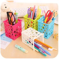 Wholesale Free ship pc candy color plastic pen holder pen container pen rack pencil vase storage box