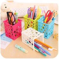Wholesale Free ship pc candy color plastic pen holder pen container pen rack pencil vase storage box
