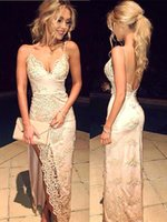 Wholesale 2017 New Gorgeous Spaghetti Straps Prom Dresses Lace Appliques With Front Split Sexy Backless Celebrity Party Evening Gowns robes BA3397