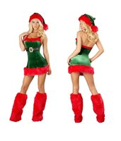 Wholesale Kasiria Women s Velvet Sexy Lingerie Costumes Red Mascot Costumes Miss Santa Claus DRESS Christmas Chemises for Festival