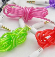 Wholesale clear AUX mm Stereo Auxiliary Car Audio Cable Male to Male for iPhone Samsung Galaxy S5 PDA ipad MP3 Z102
