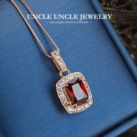 artificial rubies - Woman Artificial Red Ruby Luxury Pendant Necklace Rose Gold Plated Perfect Cut Rectangle Crystal Lady Pendant Necklace