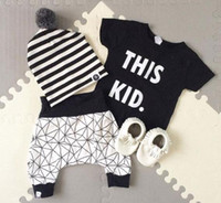 Wholesale 2016 Summer Ins Infant Baby Sets Black Letters Printed Cotton Tops T shirt Net Plaid Shorts Kids Boys Clothing Suits Children Outfits