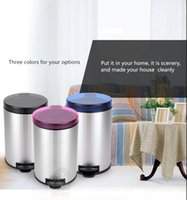 Wholesale Fashionable pedal round garbage can for Household kitchen Three colors for your option L L L L