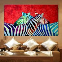 africa singles - hand painted bright africa amimal canvas painting Zebra family oil painting on canvas living room wall decoration gift