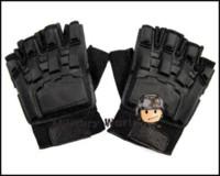 Wholesale Tactical PVC Rappel Half finger Assault Glove Easy For Movement Adjustable Wrist Strap Black M