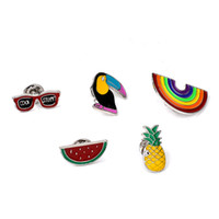 african fruits - 5pcs set Colorful Brooch Pins Set Fruit Rainbow Toucan Pineapple Broches Women Jewelry Cute Chidren Pins Chiristmas Gift
