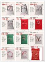 Wholesale DHL Christmas Large Canvas Monogrammable Santa Claus Drawstring Bag With Reindeers Monogramable Christmas Gifts Sack Bags