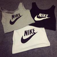 aa tanks - Women s sexy AA style high waist short letter print crop top vest cotton up navel yoga tank tops