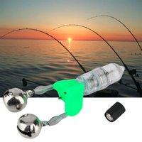 bell rod - LED Flash Light Night Electronic Fishing Bite Alarm Finder Lamp Double Twin Bells Tip Clip On Fishing Rod Tackle