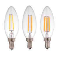 Wholesale 2W W W LED Filament Candle Bulb Retro Decorative lamp E12 E14 Base V VAC Warm Cool White Chandelier Dimmable