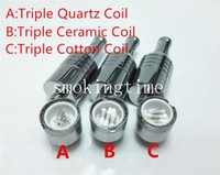 Wholesale D CORE Triple coils wax Quartz atomizer Ceramic Cotton rob wax vaporizer wax cartomizer VS Dual Coil Skillet v2 Globe glass Cannon Tank