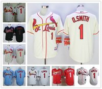baby mens - Mens St louis Cardinals Jerseys Ozzie Smith Cooperstown Baseball TH throwback Cream Baby Blue White Red Grey Baseball Jerseys