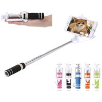 Wholesale Portable Mini Folding Mobile phone Wired self Selfie Stick Monopod Built in Shutter Wire Remote Control for iPhone Samsung Sony