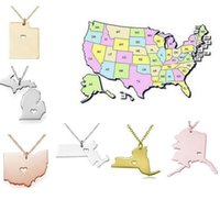 alaska states - USA America States Map Pendant Necklaces With Heart DIY State Pendent Necklace Stainless Steel Jewelry Alaska State New York State