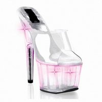 adhesive powder - Flash powder bottom cool slippers diamond crystal decoration transparent glass slipper cm high heels pink