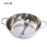 Wholesale Low price Silver Stainless Steel Set Little Sheep Thick Duck Hot Pot Ruled cm Two partitions Pot Induction Cooker Special