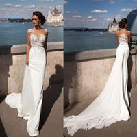 Wholesale Vintage Lace Wedding Dresses Sheer Neck Ribbons Mermaid Wedding Gowns Detachable Train Sleeveless Milla Nova Cheap Beach Bridal Dress