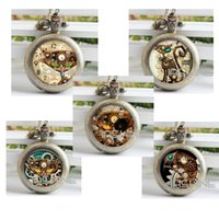 antique cat clock - Steampunk Cat Pocket Watch Necklace Steampunk Clock Necklace Steampunk Jewelry cat pocket watch