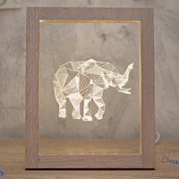 beds solid wood - Northern Europe Creative Gifts Elephant Night Light Birthday Present Solid Wood Photo Frame Table Lamp Night Lights