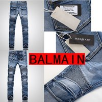 Wholesale Balmain Mens Jeans Motorcycle Pants Men Washing Old Fold Jeans Original Brand Balmain Biker Jeans Hole Ripped Stretch Denim Designer Jean