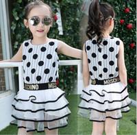 beaded tunic dress - 2016 Children New Summer Big Girls Polka Dots Dress Letter Tunic Sleeveless Dress Lovely Princess Dress Blackwhite K7398