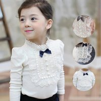 Wholesale Chiffon Longsleeve Shirt - 2016 Autumn Longsleeve Cotton T-shirt Girls Top Fashion Baby Kids Clothes With Lace And Bowknot Korean Style Children Girl Tops