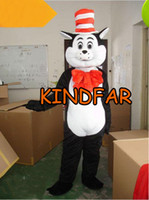 Wholesale Dr Seuss The Cat in The Hat Mascot Costumes Adult Size Fancy Dress Cartoon Outfit Suit Free Ship
