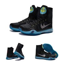 air commander - With shoes Box New Bryant Kobe X KB Elite High Commander Black Metallic Silver Blue Lagoon Men Boots Shoes
