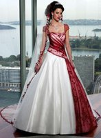 gothic wedding dresses - Red and White Gothic Wedding Dresses Cap Sleeves Ruched Lace Princess Wedding Dress Bridal Gown