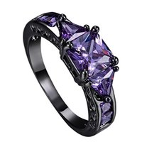 amethyst band rings - High Quality Rings Purple Amethyst AAA Cubic Zirconia K Black Gold Plated Ring For Women Lady s Cocktail Party Jewelry Size CR005