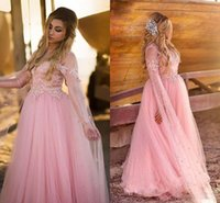 arabic bridal wear - Plus Size Blush Pink Tulle Evening Dresses Illusion Neck Long Sleeves Appliqued Beads Arabic Boho Bridal Formal Party Wear Prom Gowns